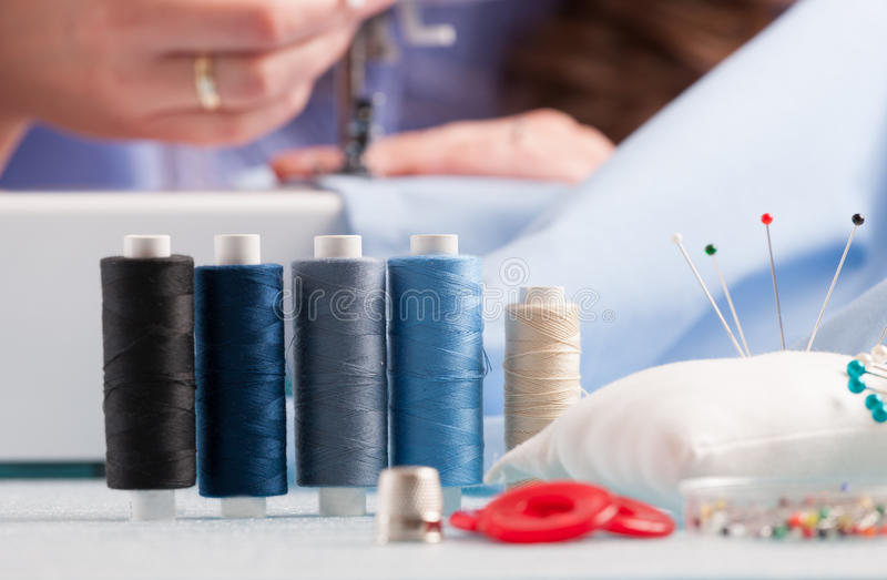 Download Reels Of Colour Threads And Sewing Accessories Stock Image - Image: 30555959