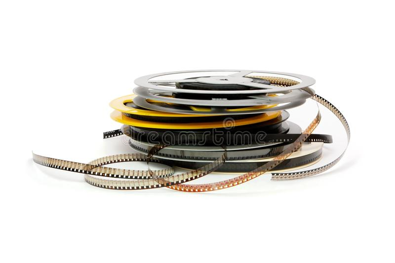 Reels of old amateur celluloid film. Stack of reels of old quarter-inch amateur celluloid film stock photos