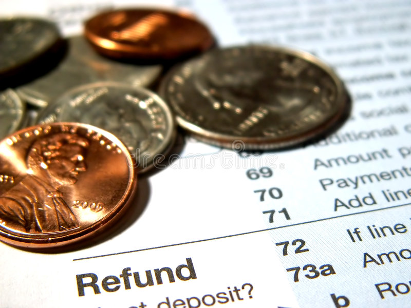 Reembolso del impuesto sobre la renta foto de archivo libre de regalías