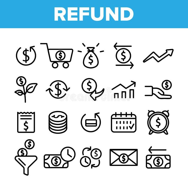 Reembolso, grupo linear dos ícones do vetor do sistema do E-pagamento ilustração stock