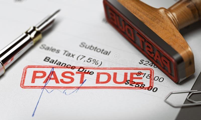 Reembolso o recuperación de la deuda del negocio Factura sin pagar foto de archivo libre de regalías