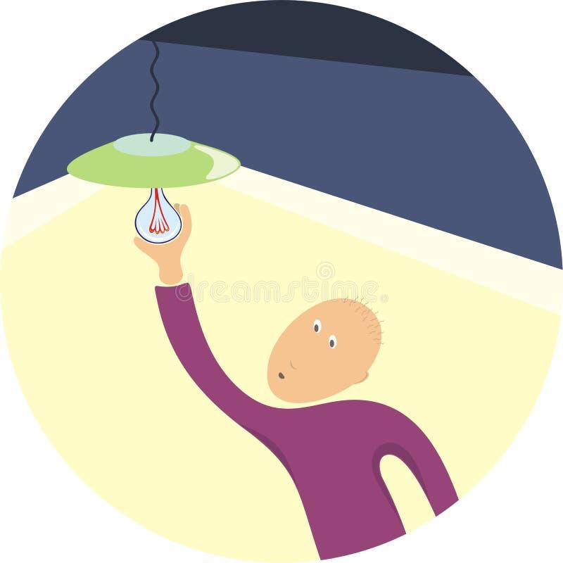 Reemplazo de un bulbo ilustración del vector