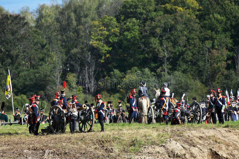Reenactment av den Borodino striden arkivfoto