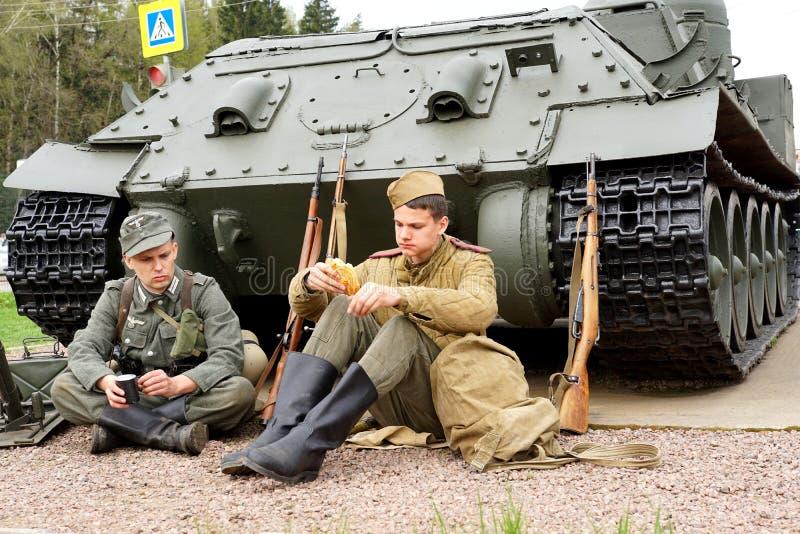 Reenactment av händelser för världskrig II royaltyfria foton