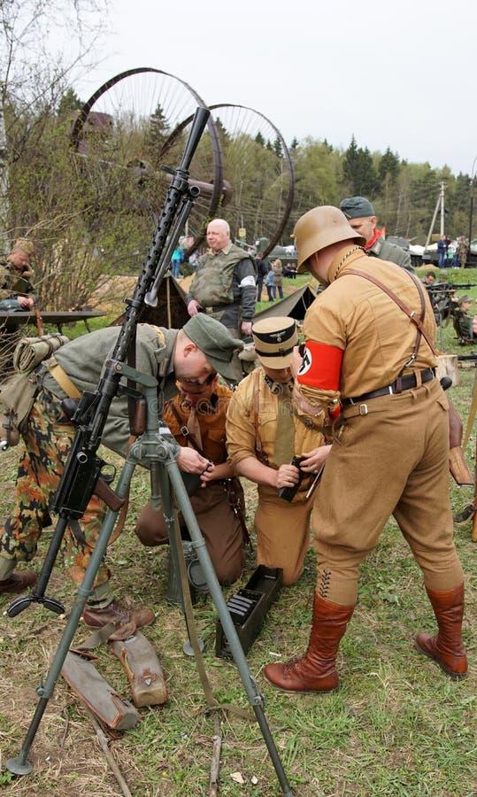 Reenactment av händelser för världskrig II royaltyfri foto