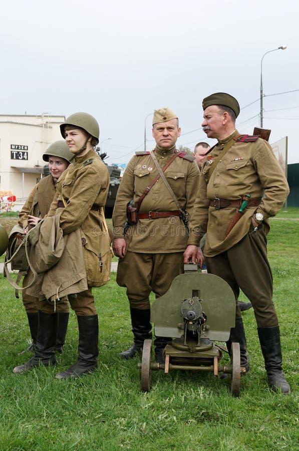 Reenactment av händelser för världskrig II arkivfoto