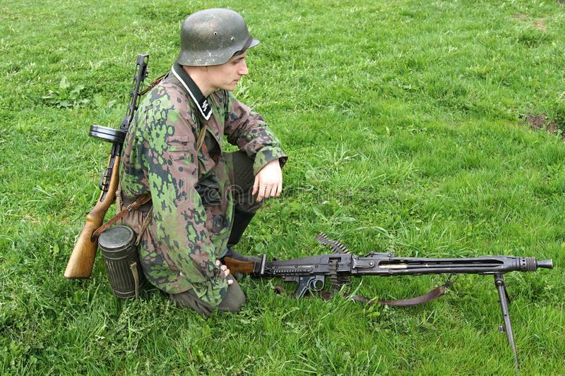 Reenactment av händelser för världskrig II fotografering för bildbyråer