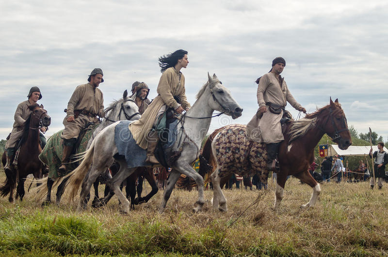 The reenactment of the battle of the era of the Mongol-Tatar yoke in the Kaluga region of Russia on 10 September 2016. stock photo