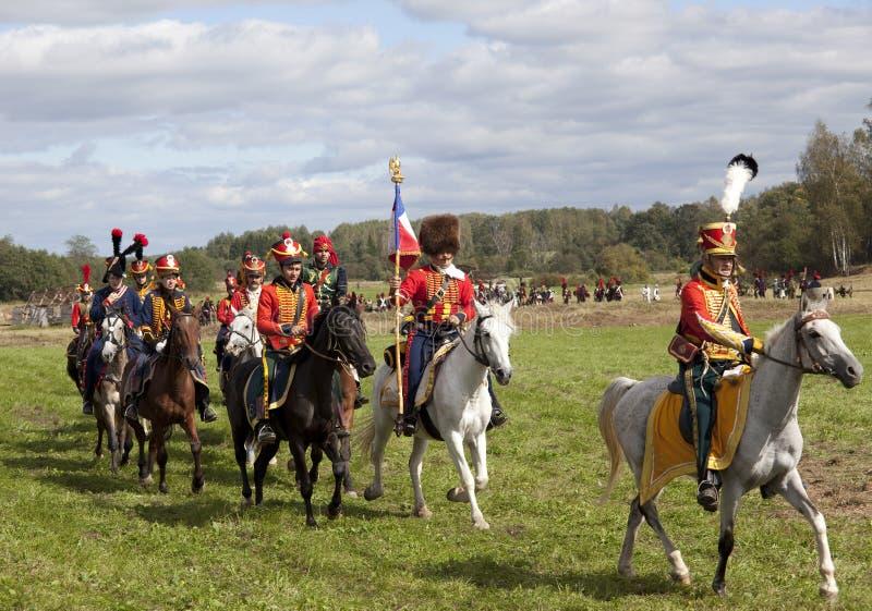 Reenactment Borodino bitwa między Rosyjskimi i Francuskimi wojskami w 1812 fotografia stock