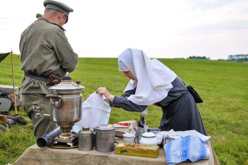 Reenactment da batalha de Gumbinnen, Primeira Guerra Mundial fotos de stock