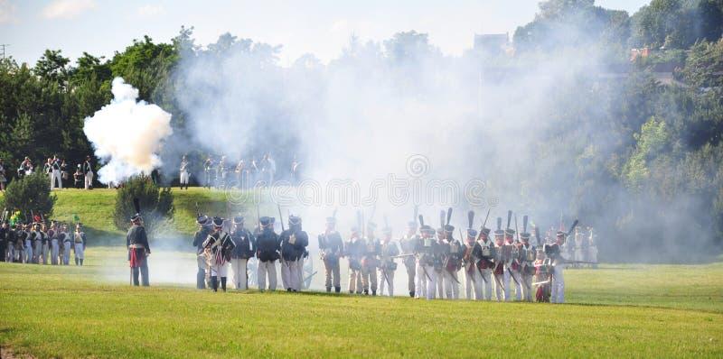 Reenactment da batalha de Napoleon imagem de stock
