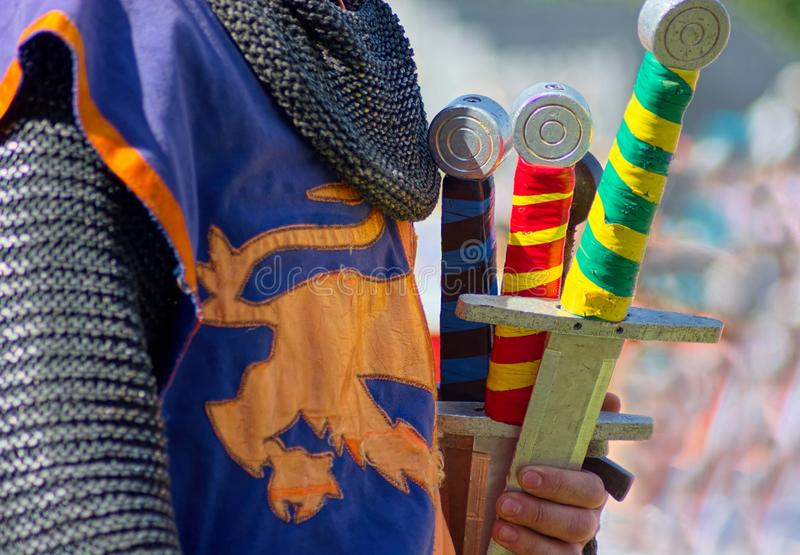 Swords of The Knights of Royal England. Medieval Jousting. royalty free stock photos