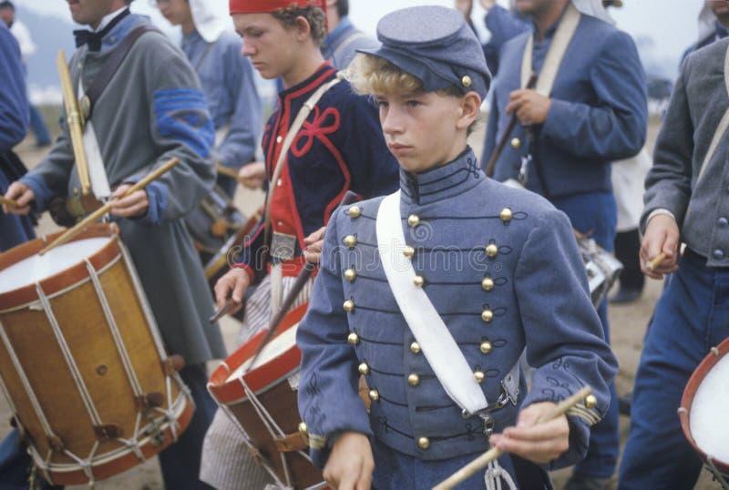 Reenactment histórico da batalha de Manassas, marcando o começo da guerra civil, Virgínia fotografia de stock