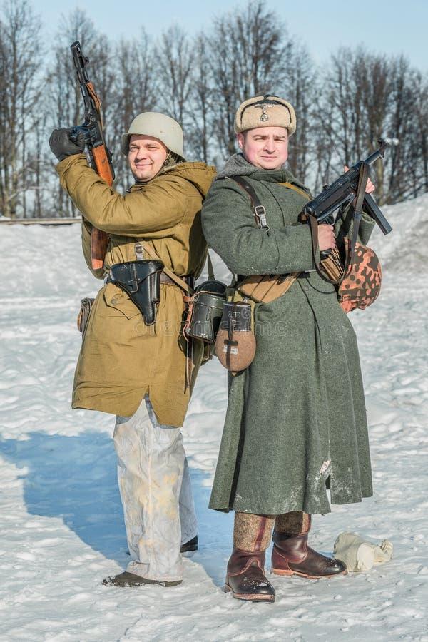 "Reenactment histórico militar ""repto de Alexander Matrosov"" fotos de stock royalty free"