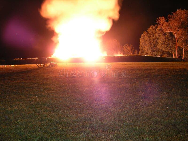Reenactment Nighttime в пилотной ручке, Миссури стоковая фотография rf