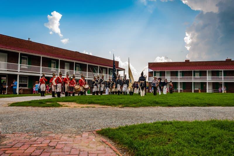 Reenactment på en sommardag på fortet McHenry, Baltimore, Maryland fotografering för bildbyråer