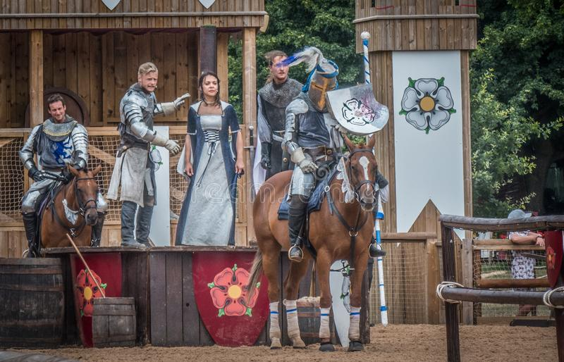 Medieval Knights at Warwick Castle. A reenactment of the war of the Roses at the medieval Warwick Castle, Warwickshire, England, Europe royalty free stock images