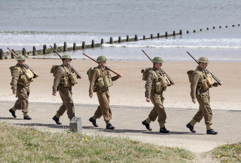 Reenactment of World War 2 battle. Blyth, Northumberland, May 16. 2015. stock image