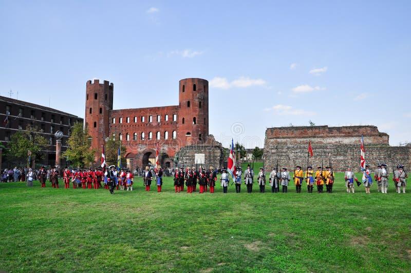 reenactmentseptember siege 1706 turin royaltyfri fotografi