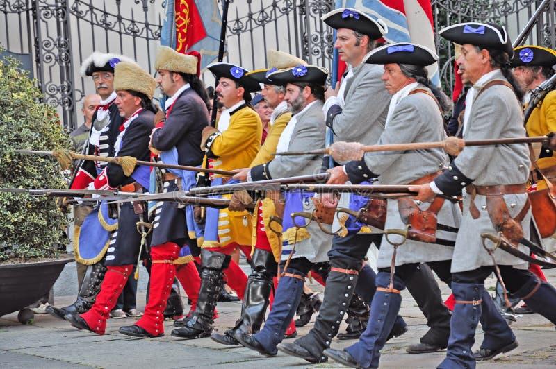 reenactmentseptember siege 1706 turin fotografering för bildbyråer