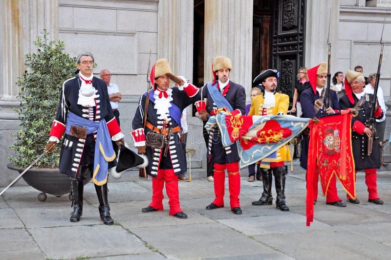 reenactmentseptember siege 1706 turin royaltyfria foton