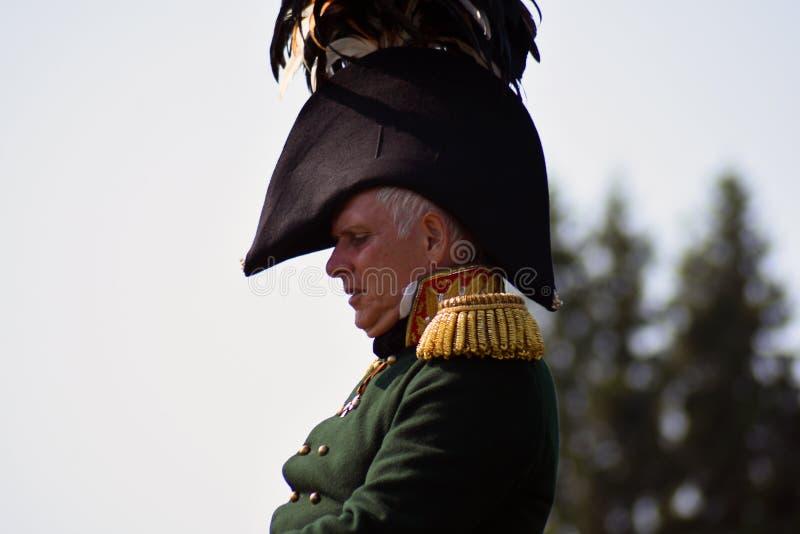 Reenactor à la reconstitution historique de bataille de Borodino en Russie images stock