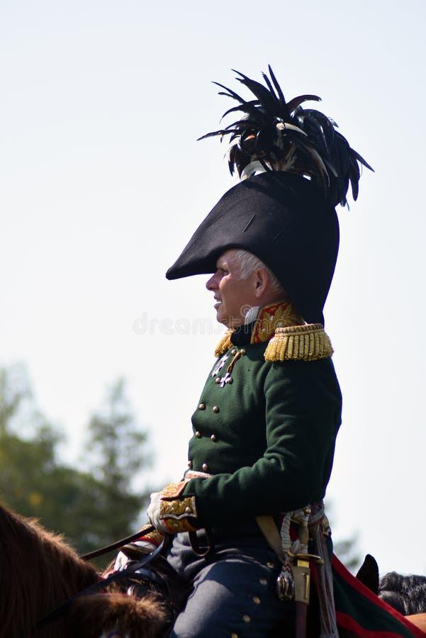 Reenactor à la reconstitution historique de bataille de Borodino en Russie photographie stock libre de droits