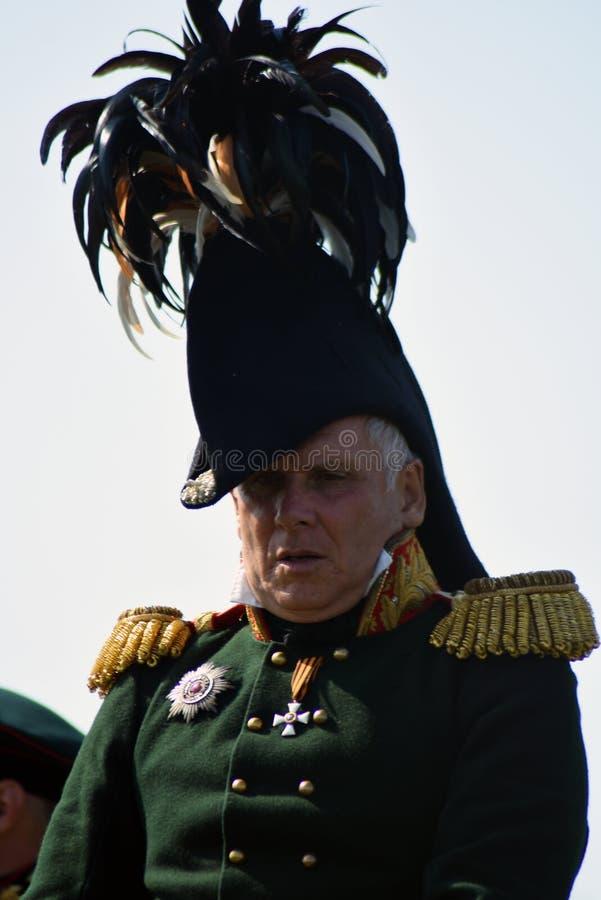 Reenactor à la reconstitution historique de bataille de Borodino en Russie photo libre de droits