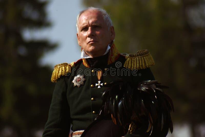 Reenactor à la reconstitution historique de bataille de Borodino en Russie image libre de droits