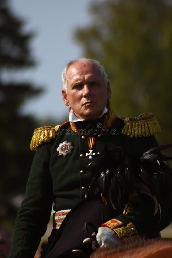 Reenactor à la reconstitution historique de bataille de Borodino en Russie photographie stock