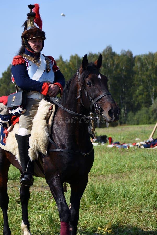 Reenactor à la reconstitution historique de bataille de Borodino en Russie photo stock