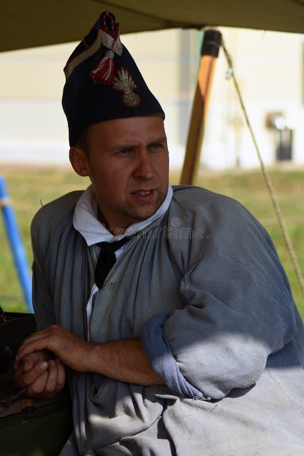 Reenactor à la reconstitution historique de bataille de Borodino en Russie images libres de droits