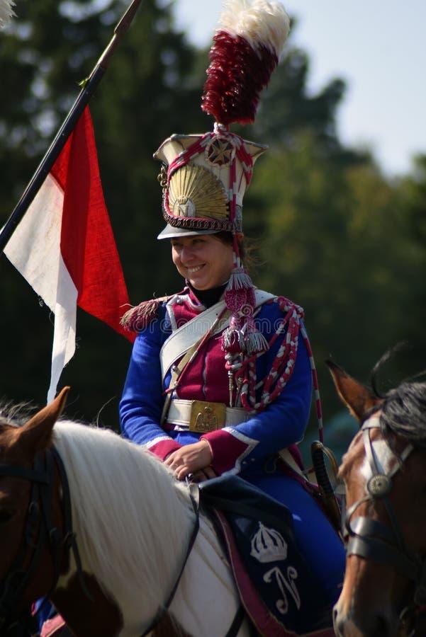 Reenactor de la mujer en la reconstrucci?n hist?rica de la batalla de Borodino en Rusia foto de archivo libre de regalías