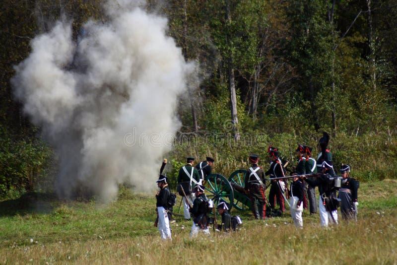 Reenactor ? la reconstitution historique de bataille de Borodino en Russie photos libres de droits