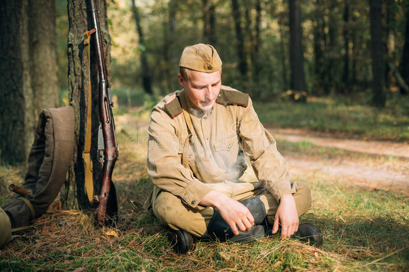 Reenactor Man Dressed As Russian Soviet Red Army Infantry Soldie royalty free stock image
