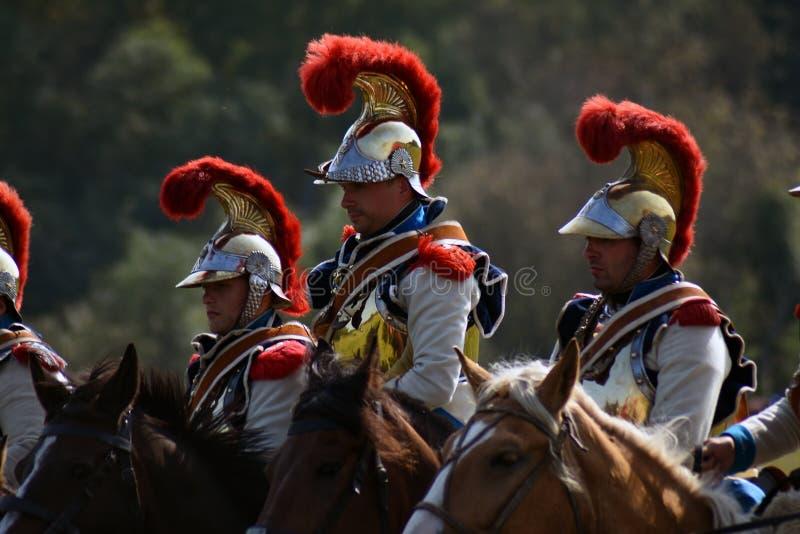 Reenactors à la reconstitution historique de bataille de Borodino en Russie image stock