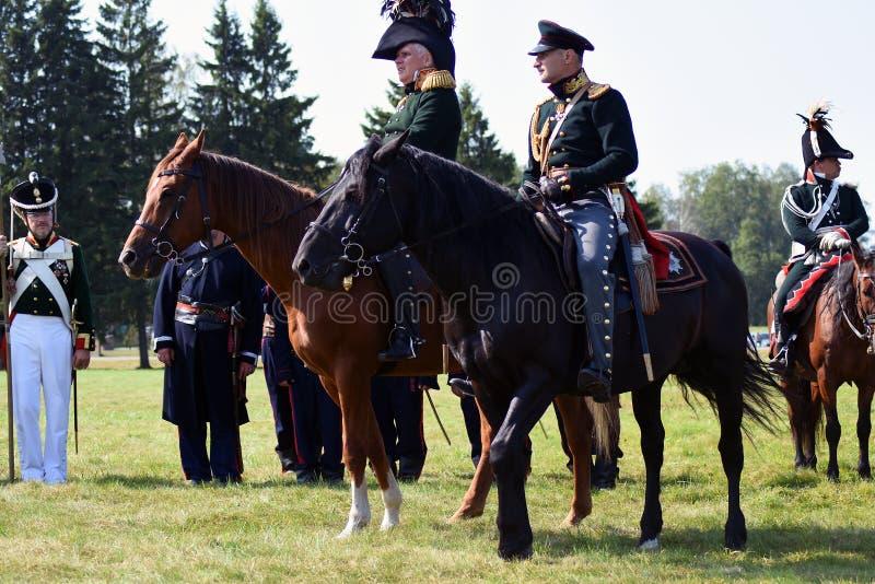 Reenactors à la reconstitution historique de bataille de Borodino en Russie photographie stock