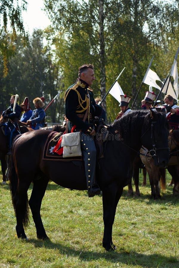 Reenactors à la reconstitution historique de bataille de Borodino en Russie photo stock