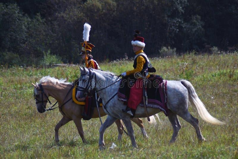 Reenactors à la reconstitution historique de bataille de Borodino en Russie photos libres de droits