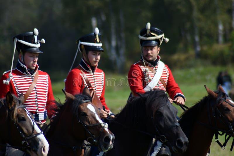 Reenactors à la reconstitution historique de bataille de Borodino en Russie photo libre de droits