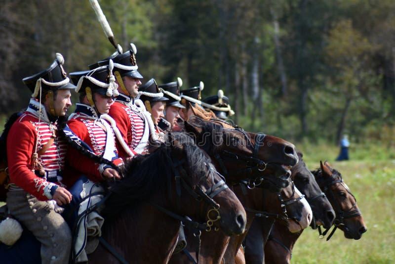 Reenactors à la reconstitution historique de bataille de Borodino en Russie photos stock