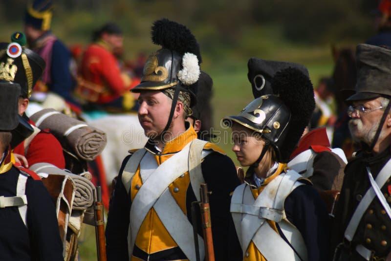 Reenactors à la reconstitution historique de bataille de Borodino en Russie photographie stock libre de droits