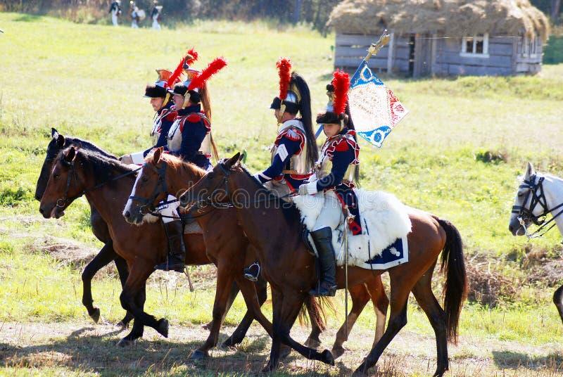 Reenactors-cuirassiers van Napoleon-regiment stock foto
