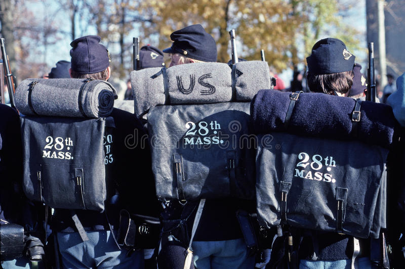 Reenactors de guerre civile dépeignant des soldats des syndicats images libres de droits