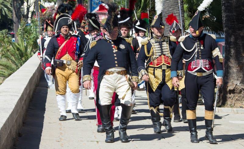 Reenactors kleedden zich als Napoleonic militairen, Ajaccio, Corsica stock fotografie
