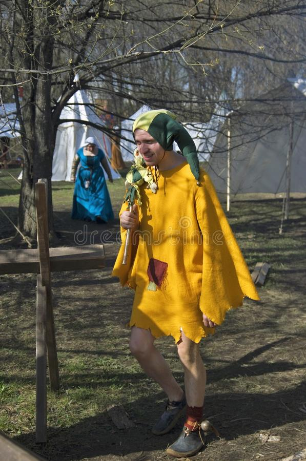 Reenactors in Kolomenskoye-park in Moskou Sportenstrijd stock foto