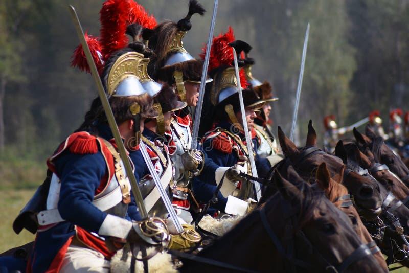 Reenactors ? la reconstitution historique de bataille de Borodino en Russie photos libres de droits