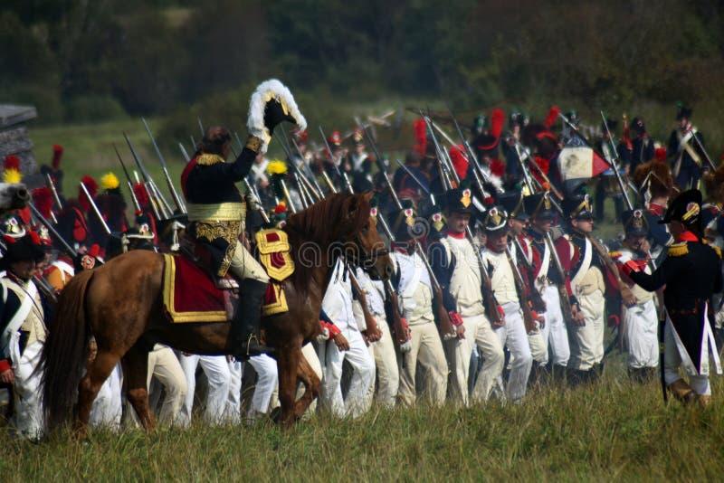 Reenactors ? la reconstitution historique de bataille de Borodino en Russie photo libre de droits