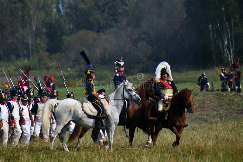 Reenactors ? la reconstitution historique de bataille de Borodino en Russie photographie stock