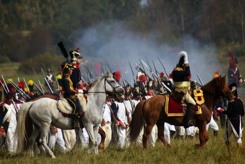 Reenactors ? la reconstitution historique de bataille de Borodino en Russie image stock